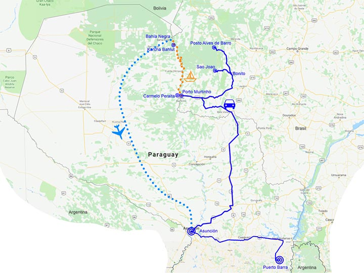 Mappa itinerario Chaco Paraguay